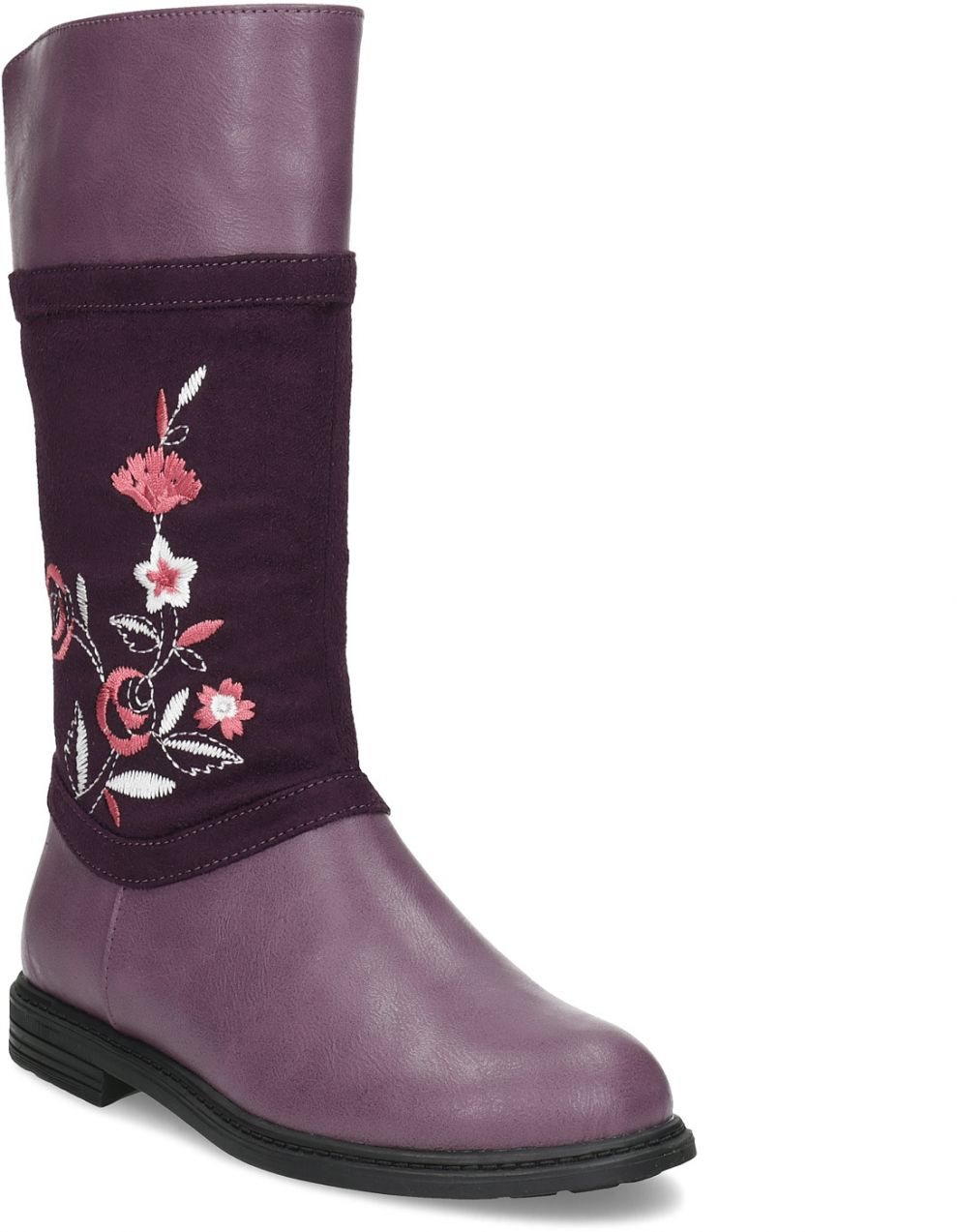 8eeafb0d21 Dievčenské fialové čižmy s výšivkou značky MINI B - Lovely.sk