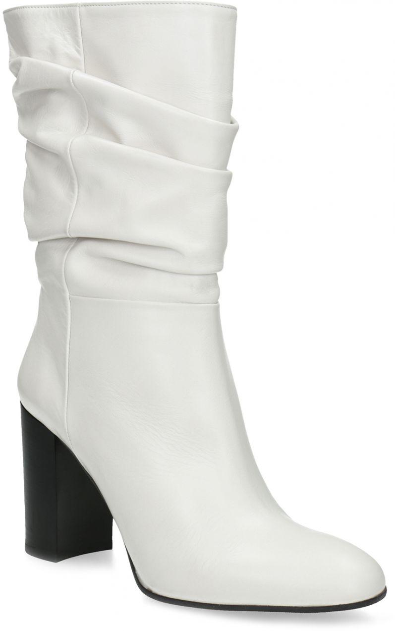 ee4b14ed16 Biele kožené čižmy na stabilnom podpätku značky Baťa - Lovely.sk