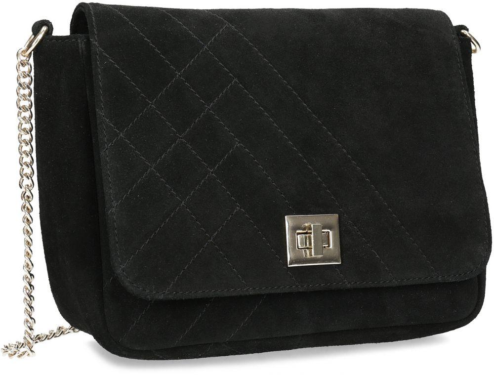 Kožená čierna crossbody kabelka s prešitím značky Baťa - Lovely.sk 88967e5f018