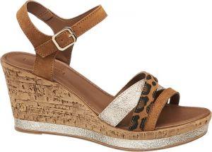 07deb992edd8f 5th Avenue - Kožené sandále na klinovom podpätku značky 5th Avenue ...