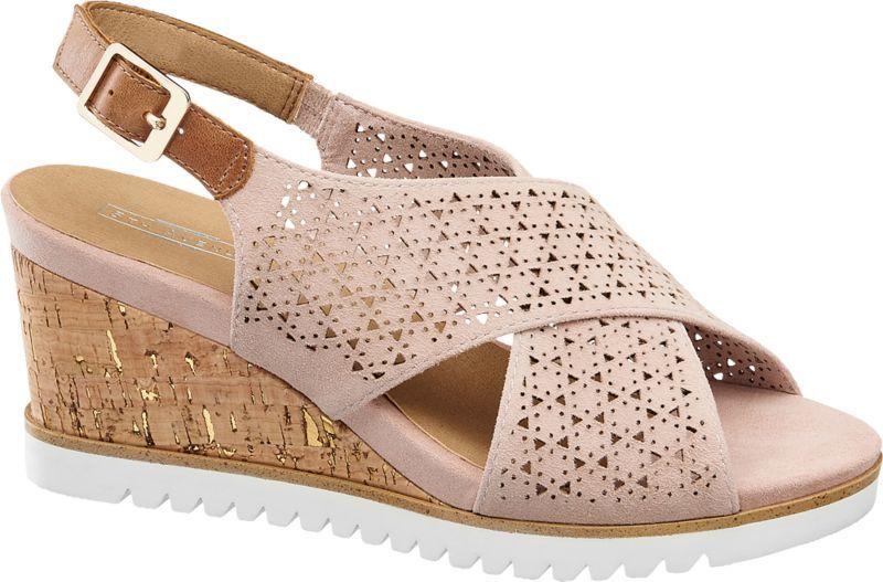 cbba4af281a21 5th Avenue - Semišové sandále na klinovom podpätku značky 5th Avenue ...