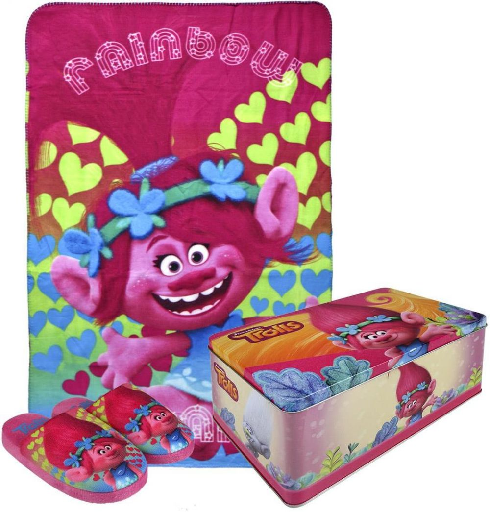 05bfb4298 Disney Brand Dievčenské darčekový set papuče + fleecová deka + krabička  Trollovia značky Disney Brand - Lovely.sk