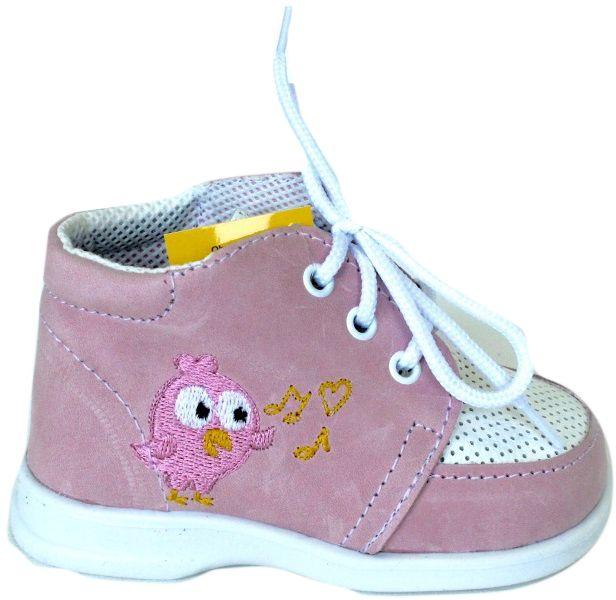 První krůčky Dievčenské kožené topánočky s vtáčikom - ružové značky ... 5179ba4b693