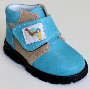 První krůčky Chlapčenské kožené celoročné topánky Kos - svetlo modrá    svetlo hnedá adf0e6c0ab1