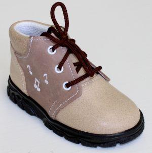 První krůčky Detské kožené celoročné topánky Noty - svetlo hnedá   tmavo  hnedá 6ac3bad7760