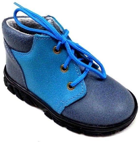 První krůčky Chlapčenské kožené celoročné topánky so šnúrkami - modré 214e84a0f0b