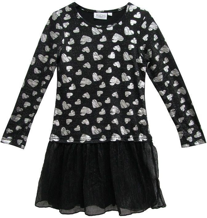 Topo Dievčenské šaty so srdiečkami - čierno-biele značky Topo ... dff06f626e8