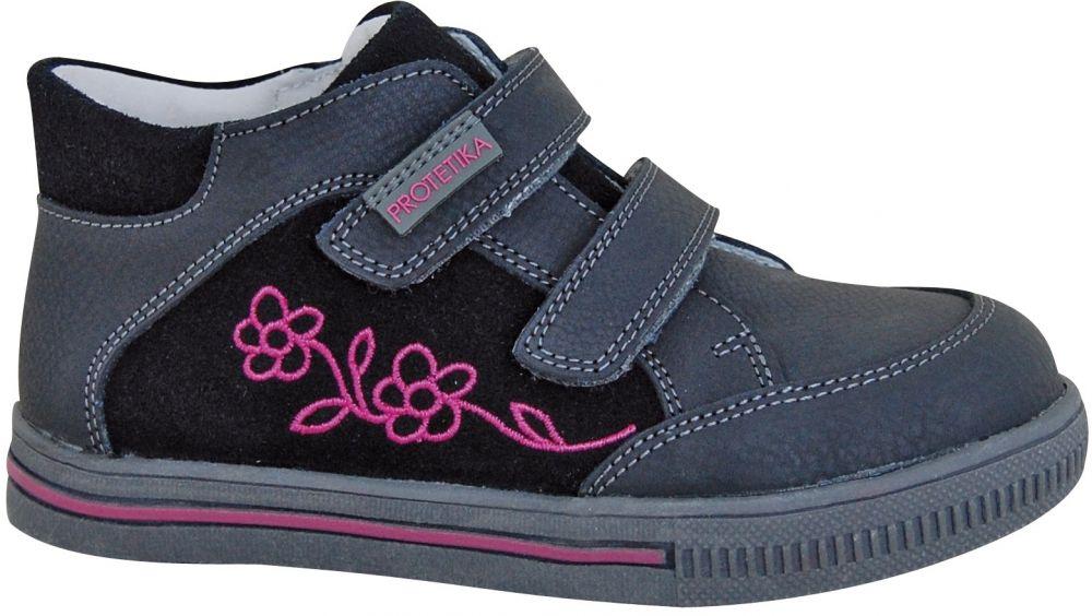 b1c7a63945 Lovely Dieťa Obuv · Protetika Dievčenské členkové topánky Roka - šedo-čierne