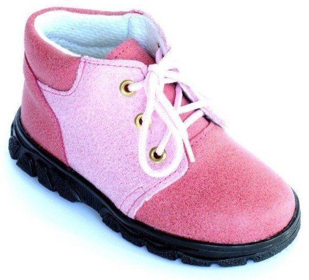 První krůčky Dievčenské kožené celoročné topánky so šnúrkami - ružové 3d008ac9db6