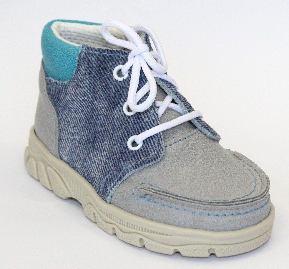 První krůčky Detské kožené kožené celoročné topánky - šedo-modré ... 32ef0f530d8