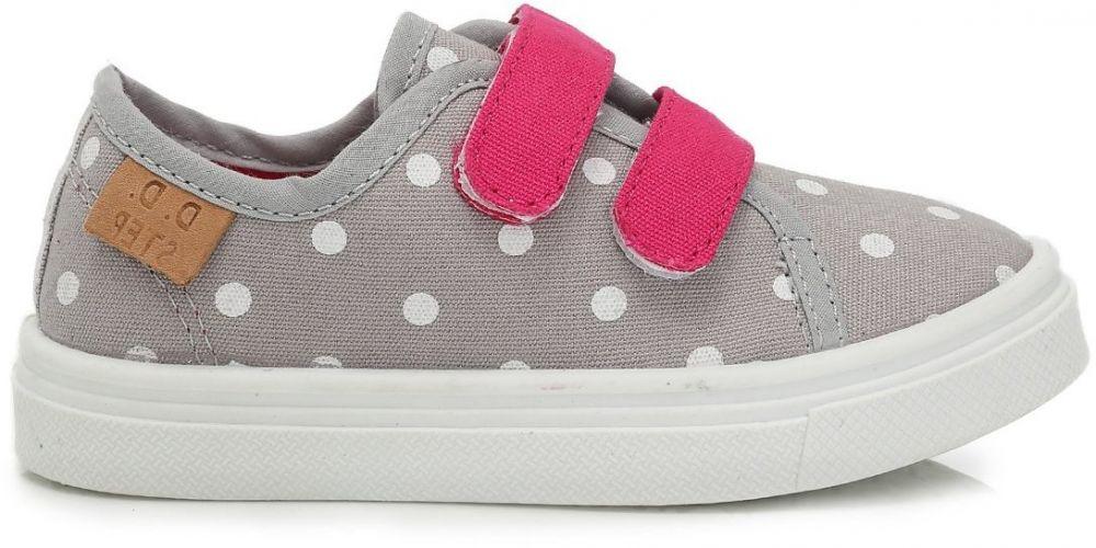 D.D.step Dievčenské plátené tenisky s bodkami - šedé značky D.D.step -  Lovely.sk cb68f49e9dd