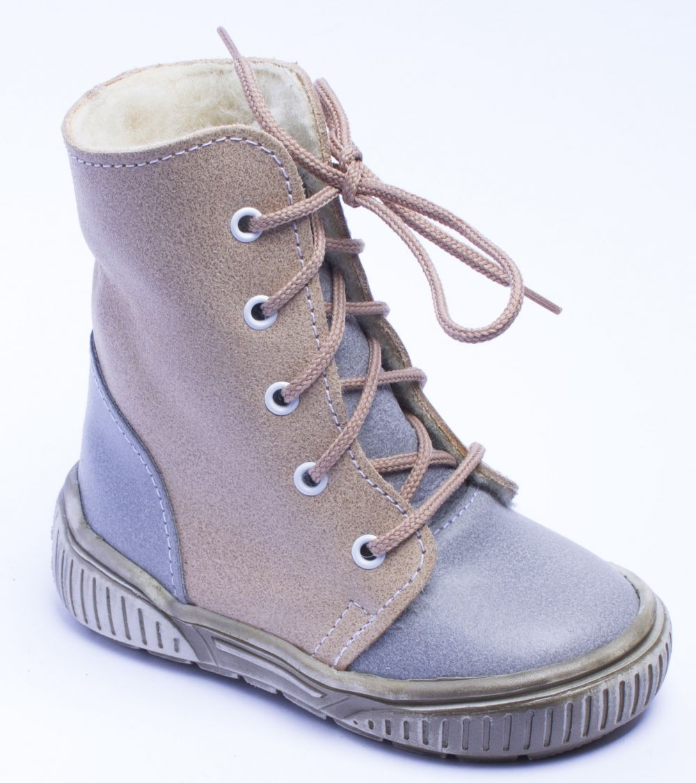 První krůčky Chlapčenské zimné topánky so šnúrkami - hnedo-šedé ... b342964396e