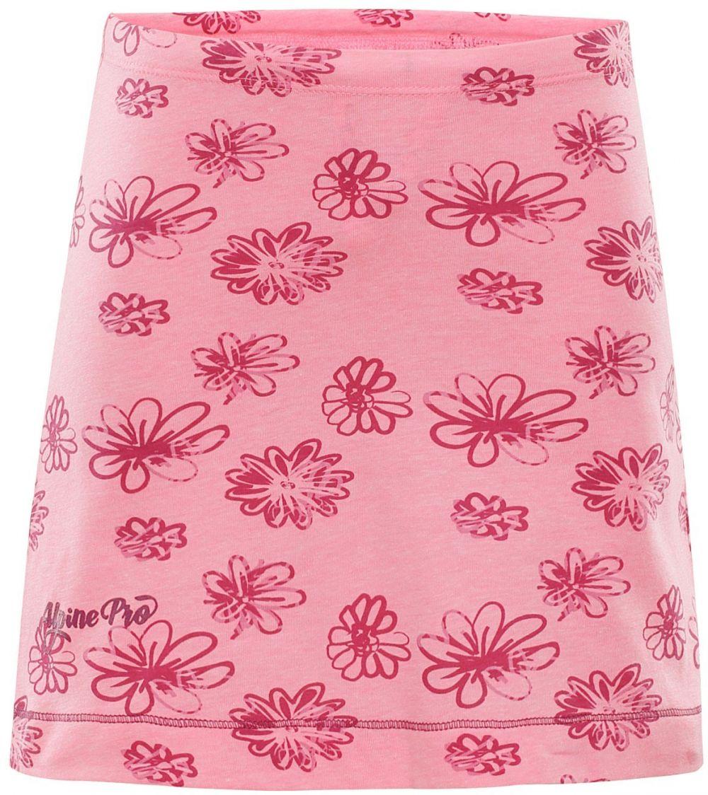 6fc359384519 ALPINE PRO Dievčenská sukňa Lauco 2 s kvietkami - ružová značky Alpine Pro  - Lovely.sk
