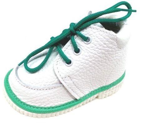 132100dd06a1d První krůčky Detské kožené topánočky so zeleným lemom - biele značky ...