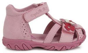 005b0e2effc5 D.D.step Dievčenské kožené topánočky s kvetinkou- ružové značky D.D. ...