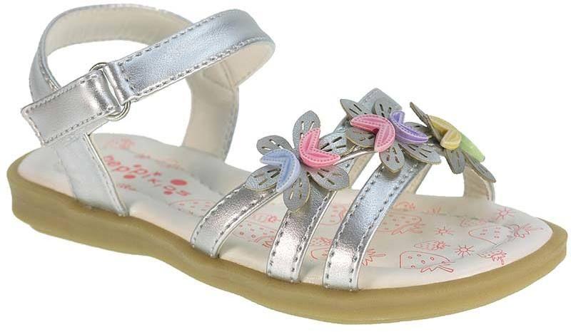 ab4e17c19928 Beppi Dievčenské remienkové sandále s kvietkami - strieborné značky Beppi -  Lovely.sk