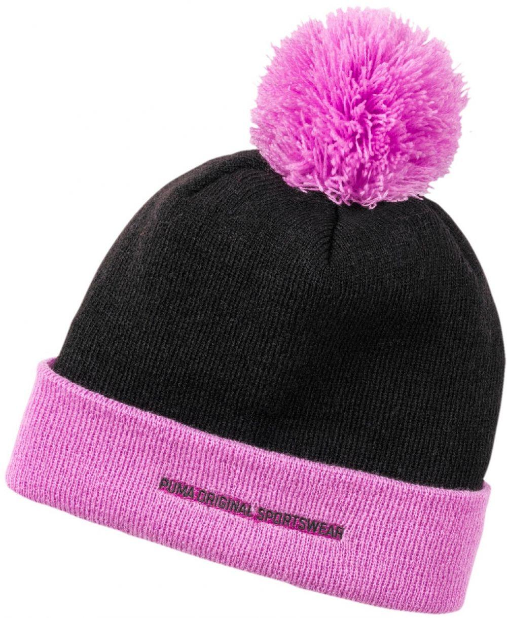 Puma Dievčenská čiapka STYLE Pom Pom beanie - čierno-ružové značky Puma -  Lovely.sk 7170456e6d7