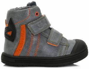 Ponte 20 Chlapčenské kožené topánky - šedo-oranžové 8825404e5f2