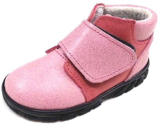 První krůčky Dievčenské kožené celoročné topánky - ružové značky ... 1908f697e6d
