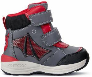 Geox Chlapčenské členkové topánky New Flick - šedo-červené značky ... 7ce90873768