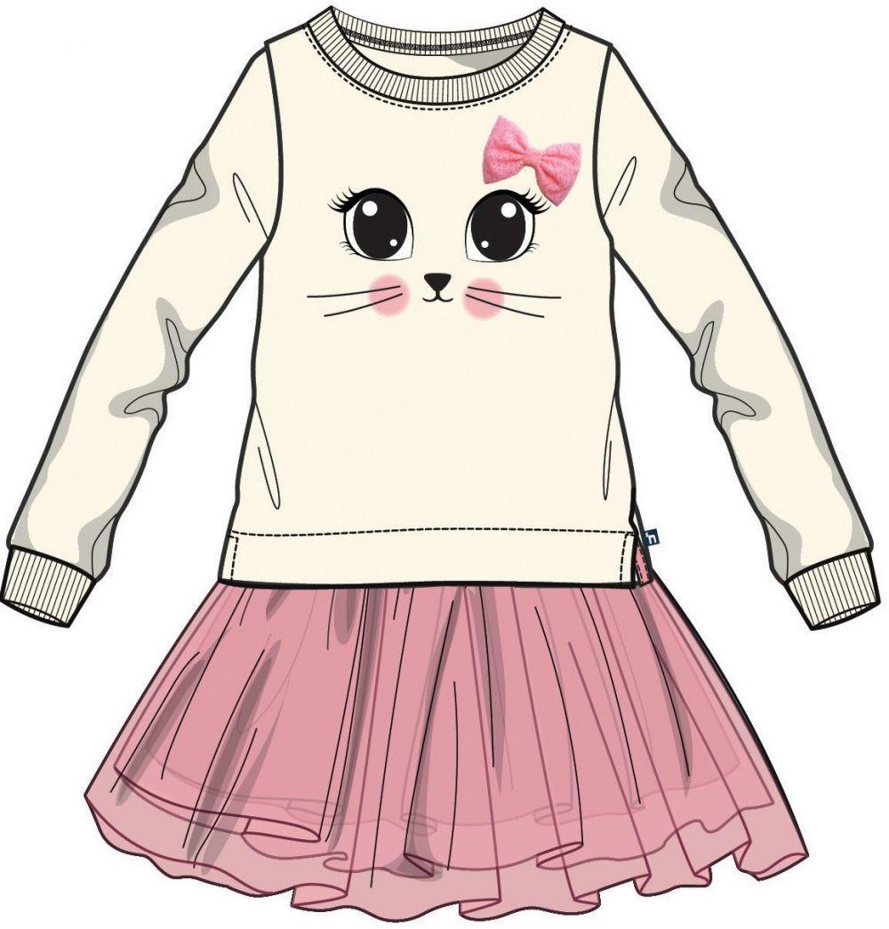 9d9826f4bcda Mix  n Match Dievčenské šaty s mačičkou - bielo-ružové značky Mix´n ...