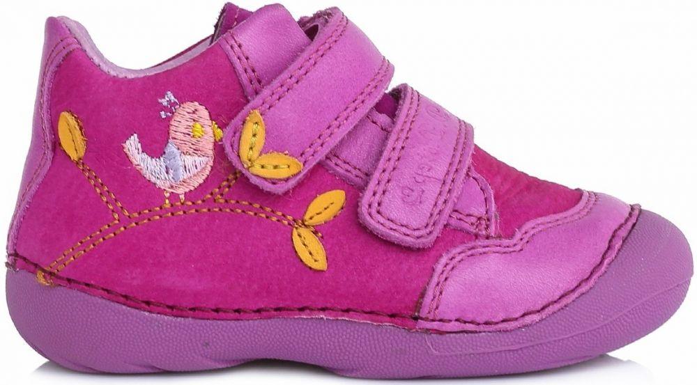 21edfaa364e0 D.D.step Dievčenské členkové topánky s vtáčikom - ružové značky D.D. ...