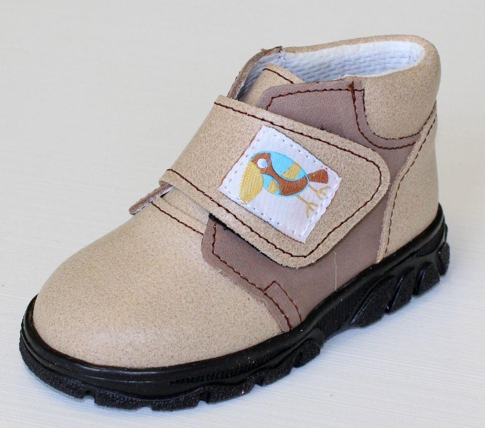 První krůčky Detské kožené celoročné topánky Kos - svetlo hnedá   tmavo  hnedá c4251d3224
