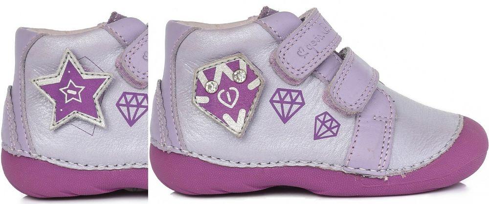 D.D.step Dievčenské členkové topánky s výmennou aplikácií - fialové značky  D.D.step - Lovely.sk ff880bf3772