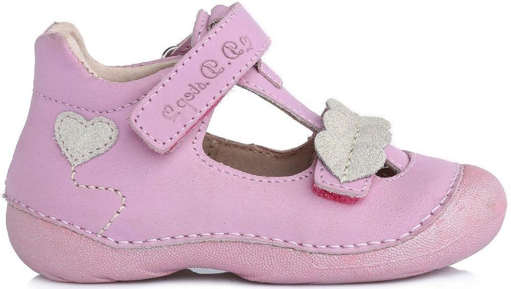cbaa294f08ad D.D.step Dievčenské kožené sandále so srdiečkami - ružové značky D.D.step -  Lovely.sk
