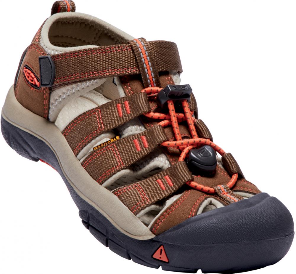 62c58a3e5061a Keen Chlapčenské outdoorové sandále Newport H2 Junior, Dark Earth / Spicy  Orange - hnedé