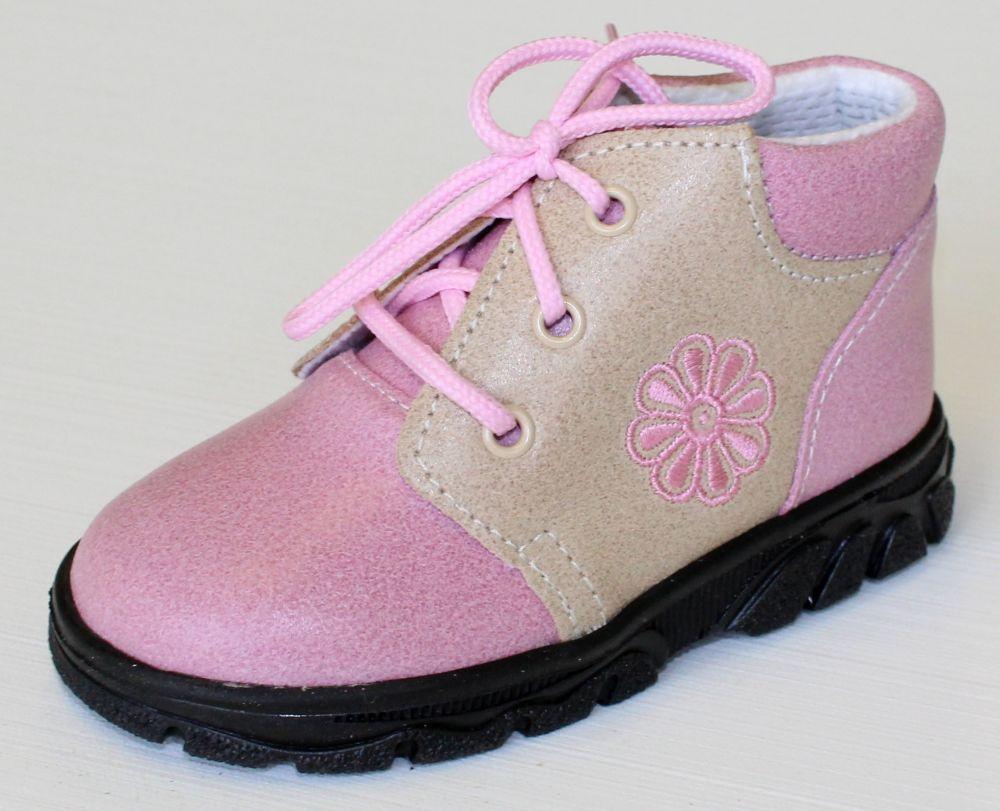 První krůčky Dievčenské kožené celoročné topánky Kytička - svetlo ružová    svetlo hnedá 5673352a0c0