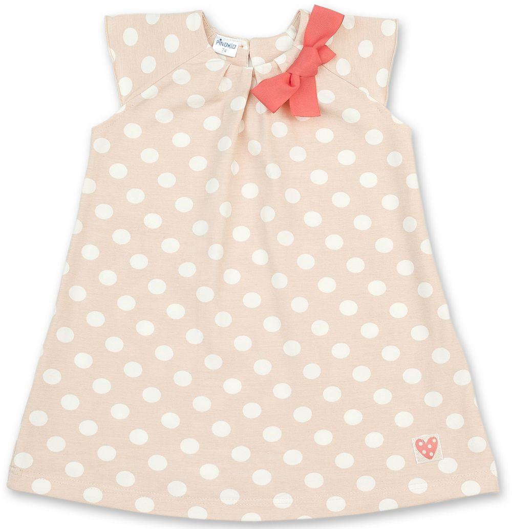 38f16683c21c Pinokio Dievčenské bodkované šaty s mašľou - béžové značky Pinokio -  Lovely.sk
