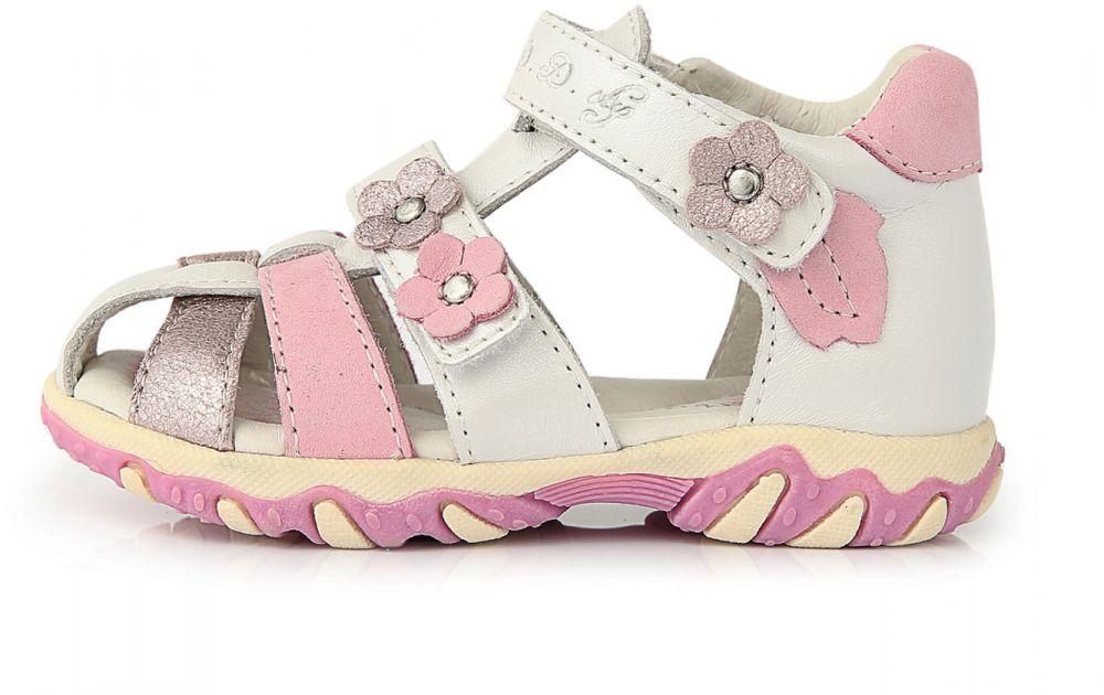 b28a651283a6 D.D.step Dievčenské celokožené sandále s kvietkami - bielo-ružové značky  D.D.step - Lovely.sk
