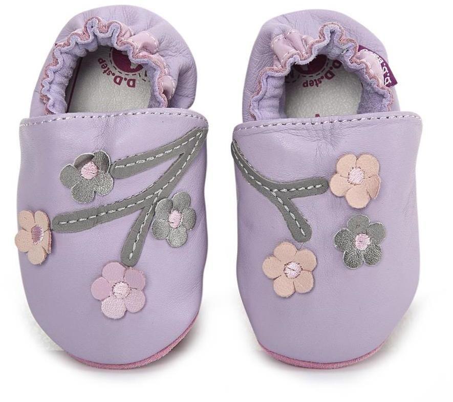 D.D.step Dievčenské kožené topánočky s kvietkami - svetlo fialové značky  D.D.step - Lovely.sk 379bc59bb0e