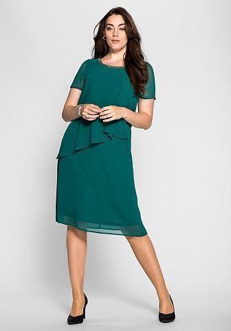 5929a69044da sheego Style sheego Style Šifónové šaty vo vrstvenom vzhľade smaragdová 40  značky SHEEGO STYLE - Lovely.sk