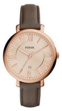Dámske hodinky v zlatej farbe s tmavohnedým koženým remienkom Fossil ... 96a07bee18c