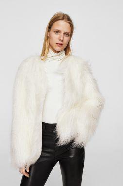 59df39bb3 Biely kabát z umelej kožušiny - Lovely.sk