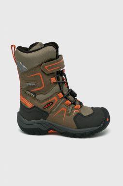 ed2e9e66c19e1 Keen Chlapčenské outdoorové topánky Hikeport Mid WP - hnedo-žlté ...