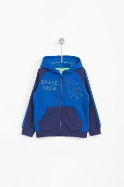 23b7dc645f Modrá chlapčenská mikina s kapucňou a klokaním vreckom adidas ...