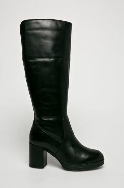 Čierne kožené čižmy s gumovou vložkou Geox New Lise značky Geox ... 54686be97ae