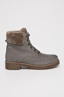 ab7745ddd4 Sivé dámske zimné semišové členkové topánky s umelou kožušinkou s ...