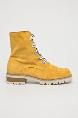 a1f33bb4df Dámske žlté kožené zimné topánky na opätku Timberland Allington 6 ...