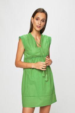 66f5ea37e3af Zelené dámske šaty so zlatým zipsom na zadnej strane značky Fasardi ...