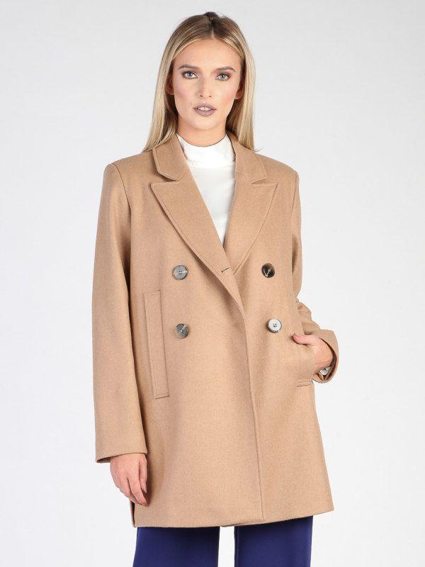 Carla by Rozarancio Dámsky dvojradový vlnený kabát CR18F P3156 CAMEL značky  Carla by Rozarancio - Lovely.sk e3bd621559c