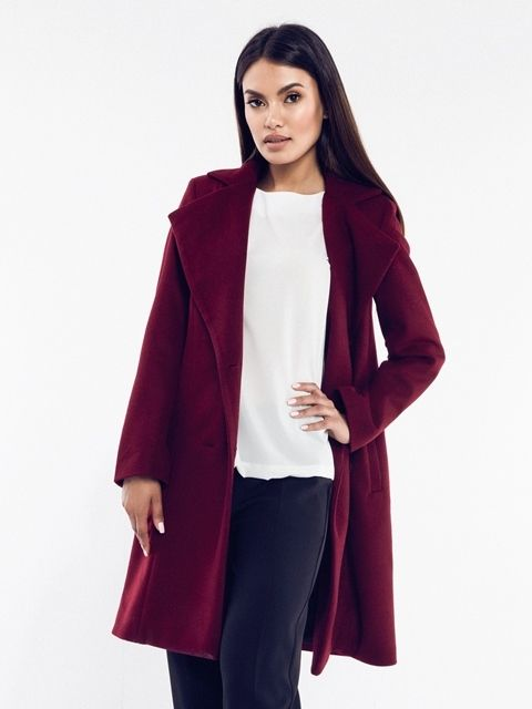 Rita Koss Dámsky kabát RK64 MAROON značky Rita Koss - Lovely.sk d44f8b3960e
