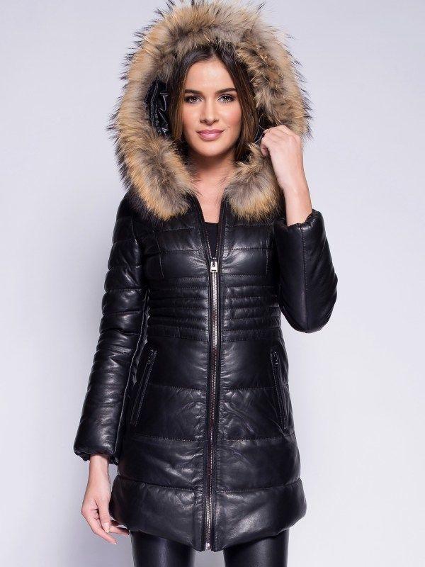 Giorgio Dámsky kožený kabát HILAIRE NOIRE značky Giorgio - Lovely.sk a4a0ed2b8c8