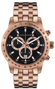 Chrono Diamond Unisex hodinky 12100F Herrenuhr Theseus Rosegold IP