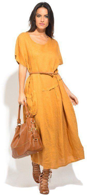 Lin Blanc Dámske ľanové šaty 6737 - ROBE BELLA P16589 moutarde ... c476e4d2c43