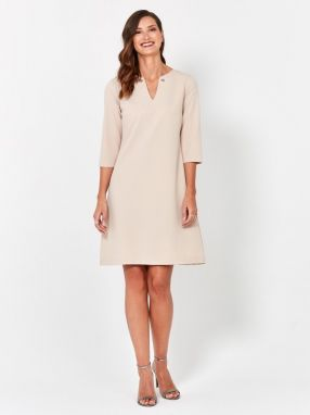 Béžové šaty do práce - Lovely.sk e7ce54691e2