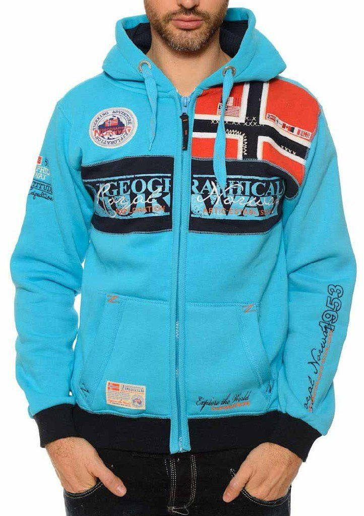 Geographical Norway Pánska mikina FLYER MEN 100 RPT 7 + RPT 8 + RPT  9 Turquoise značky Geographical Norway - Lovely.sk 44bcbb7669b